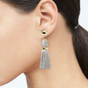 Banana Republic Bauble Tassel Earrings Silver